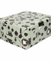 Inpakpapier cadeaupapier happy animals 200 x 70 cm groen zwart