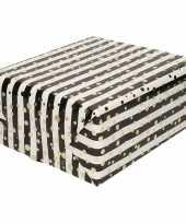 Inpakpapier cadeaupapier metallic goud zwart wit 150 x 70 cm