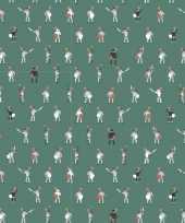 Inpakpapier cadeaupapier ridder 200 x 70 cm groen wit