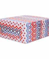 Inpakpapier cadeaupapier rood wit blauw ruiten patroon 200 x 70 cm