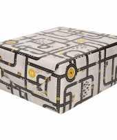 Inpakpapier cadeaupapier wegen speelkleed 200 x 70 cm grijs geel