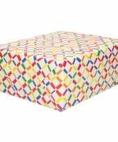 Inpakpapier cadeaupapier wit gekleurde ruitjes staafjes 200 x 70 cm