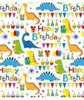 Inpakpapier cadeaupapier wit met happy birthday 200 x 70 cm