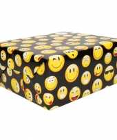Inpakpapier emoticon zwart 200 cm