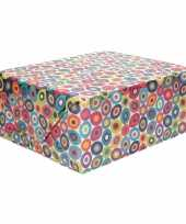 Inpakpapier holografisch met gekleurde cirkels 200 x 70 cm