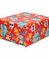 Inpakpapier kinder verjaardag met olifanten poezen 200 x 70 cm