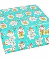 Kerst inpakpapier cadeaupapier aqua met yeti 70 x 200 cm