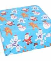 Kerst inpakpapier cadeaupapier blauw met print 70 x 200 cm