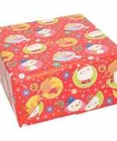 Kerst inpakpapier cadeaupapier rood met elfjes print 70 x 200 cm