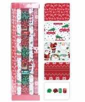 Kerst inpakpapier cadeaupapier set rood groen wit 13 delig