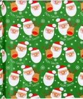 Kerst inpakpapier groen met kerstman print 200 x 70 cm