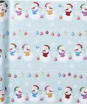 Kerst inpakpapier met sneeuwpoppen print 400 x 70 cm
