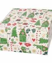 Kerst inpakpapier wit met bomen wanten print 200 x 70 cm