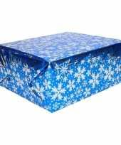 Kerstcadeau inpakpapier blauw zilver 3 rollen
