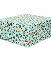 Rollen inpakpapier cadeaupapier mintgroen met gekleurde panterprint design 200 x 70 cm op rol