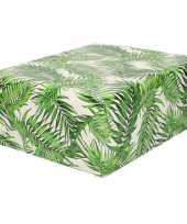 Rollen inpakpapier cadeaupapier wit met groene bladeren design 200 x 70 cm