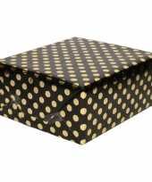 Zwart folie inpakpapier cadeaupapier gouden stip 200 x 70 cm